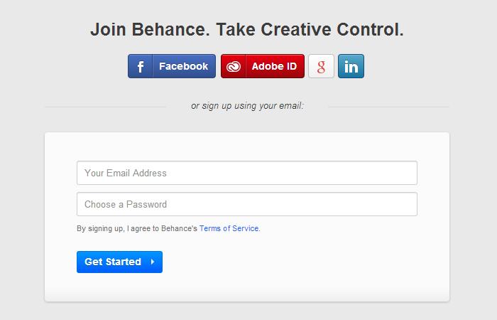 Behance regisztráció